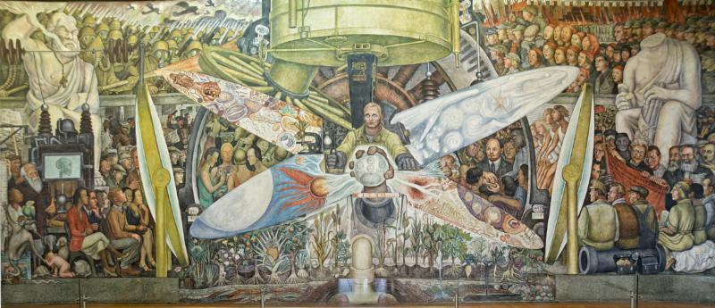 El Hombre Contralor del Universo, 1934. Fresco sobre bastidor metálico móvil 480 x 1145 cm.