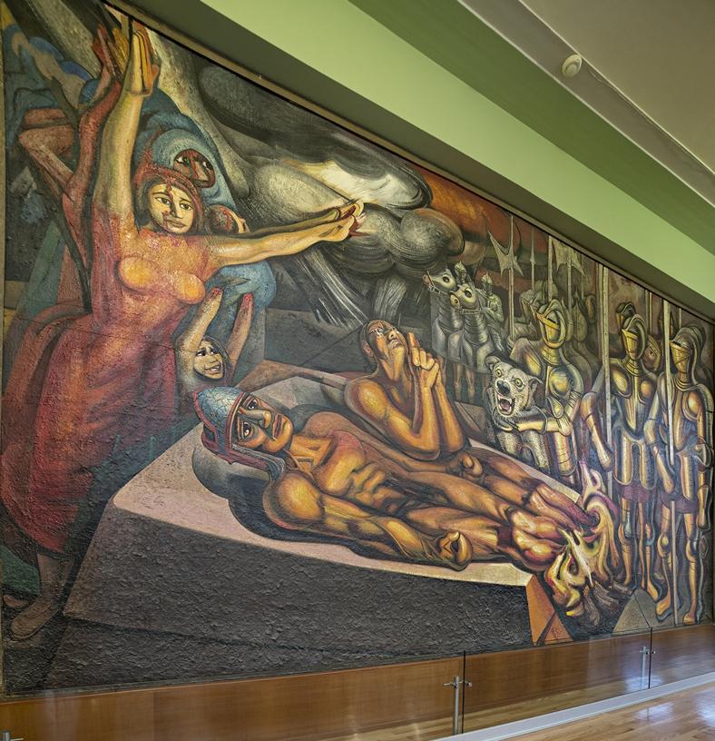 Tormento de Cuauhtémoc, 1951 Piroxilina sobre celotex 453 x 814 x 6 cm.